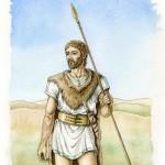 fig. 32 Il guerriero italico della tomba 1. Ipotesi ricostruttiva