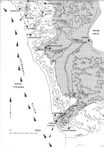 fig. 54 Carta della costa tirrenica cosentina e dei possibili approdi (da La Torre 1999)